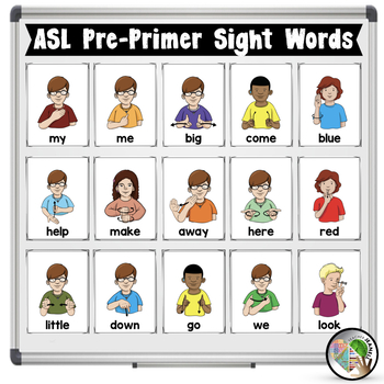 ASL American Sign Language Pre-Primer Sight Word Half-Page Posters