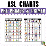 ASL American Sign Language Pre-Primer and Primer Sight Word Charts