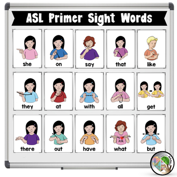 ASL American Sign Language Primer Sight Word Half-Page Posters