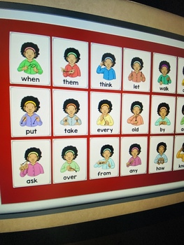 ASL American Sign Language First Grade Sight Word Half-Page Posters