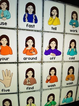 ASL American Sign Language Second Grade Sight Word Half-Page Posters