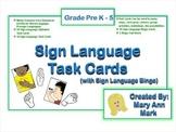 ASL American Sign Language Task Cards and Sing Language Bingo