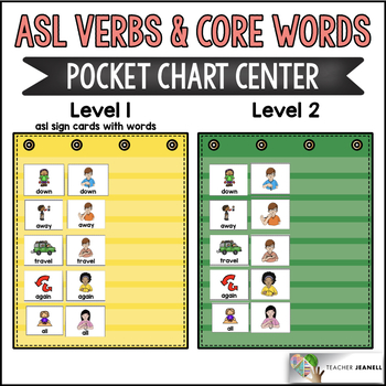 ASL American Sign Language Verbs and Core Words Pocket Chart Center