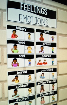 ASL American Sign Language Word Wall Cards - Feelings and Emotions