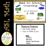 ASL Back to School Counting Match-Up File Folder Games