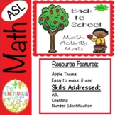 ASL Back to School Math Activity Mats
