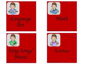 ASL Basket/Bin Classroom Label in Red
