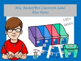 ASL Basket/bin Classroom Label in Blue
