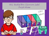 ASL Basket/bin Classroom Label in Purple