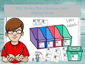 ASL Basket/bin Classroom Label in Shiplap