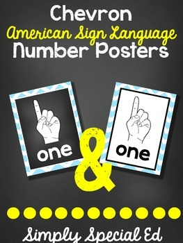 ASL Blue Chevron Number Posters