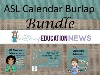ASL Calendar Burlap Bundle