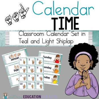 ASL Calendar Set in teal and light grey shiplap