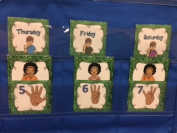 ASL Calendar- Today, Tomorrow and Yesterday in 5 colors