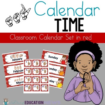 ASL Classroom Calendar Sets in Red