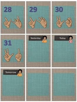 ASL Calendar set in Teal and Brown Burlap