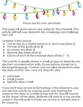 ASL Christmas/Winter Breakout