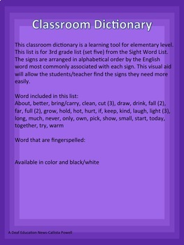 ASL Classroom Dictionary Set Five