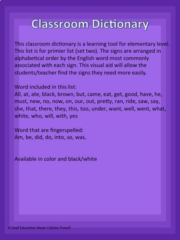 ASL Classroom Dictionary Set One