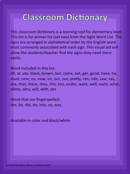 ASL Classroom Dictionary Set Two