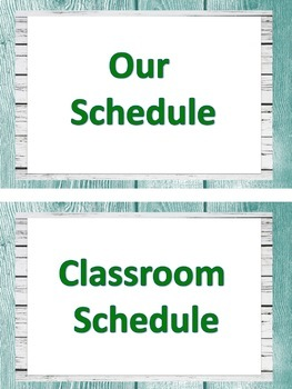 ASL Classroom Schedule in Teal and light Grey Shiplap (ASL Clipart only)