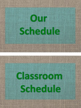 ASL Classroom Schedule in teal and brown burlap