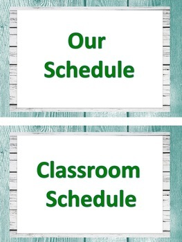 ASL Classroom Schedule in teal and light grey shiplap