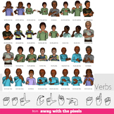 ASL Clip Art For Commercial Use - 40 Verbs Signs Pack Real