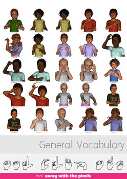 ASL Clip Art For Commercial Use - 60 General Vocabulary Pack Realistic Clip Art