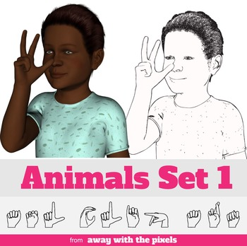 ASL Clip Art For Commercial Use -Animals Signs Pack 1 Realistic Clip Art