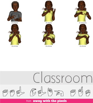 ASL Clip Art For Commercial Use - Classroom Signs Pack Realistic Clip Art