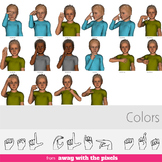 ASL Clip Art For Commercial Use - Colors Signs Pack Realistic Clip Art