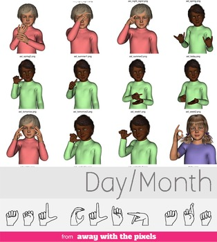 ASL Clip Art For Commercial Use - Days/Seasons Signs Pack Realistic Clip Art