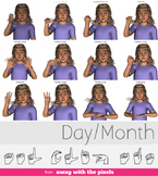 ASL Clip Art For Commercial Use - Days/Seasons Signs Pack