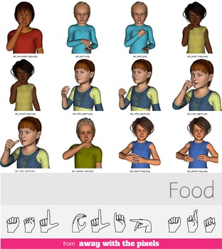 ASL Clip Art For Commercial Use - FOOD Signs Pack Realistic Clip Art