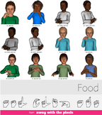 ASL Clip Art For Commercial Use - FOOD Signs Pack Realisti