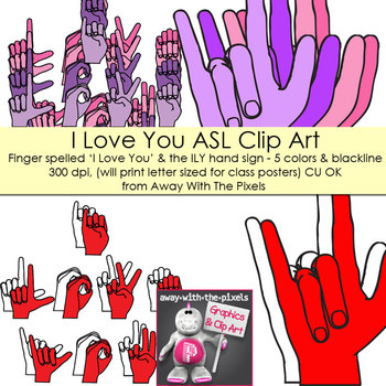 ASL Clip Art For Commercial Use - Large I Love You Hand Signs