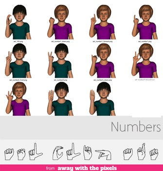 ASL Clip Art For Commercial Use - Numbers Signs Pack Realistic Clip Art