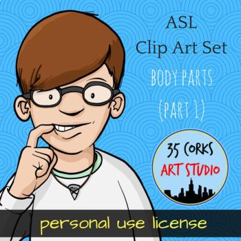 ASL Clip Art Set - Body Parts (Part 1) - Personal Use License