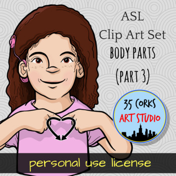ASL Clip Art Set - Body Parts (Part 3) - Personal Use License
