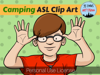 Camping ASL American Sign Language Clip Art Set - Personal Use License