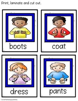 ASL Clothes Match-Up File Folder Game