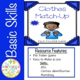 ASL Clothes Match-Up File Folder Game
