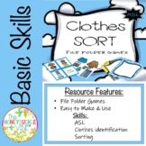 ASL Clothes Sort File Folder Games