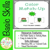ASL Color Match-Up File Folder Games