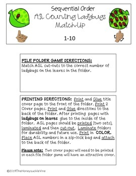 ASL Counting Ladybugs Match-Up File Folder Games