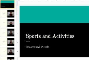 ASL Crossword Puzzle - Sports and Activities
