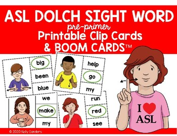 ASL Dolch Sight Word Clip Cards - Preprimer Level