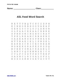 ASL FOOD Word Search