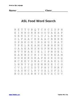 ASL FOOD Word Search